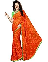Rani Saahiba Attached Border Bandhej Georgette Saree with Blouse