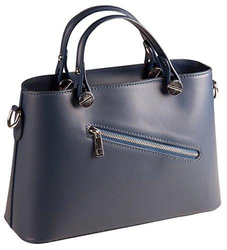 PELLE ITALY Handtasche Leder PI10092 Damen Henkeltasche Echt Leder 30x21x10 cm (BxHxT), Farbe:Creme Blau