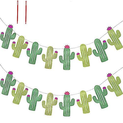 ochzeit Party Dekorationen doppelseitig Kaktusbanner Wimpel Tropische Party Geburtstag Party Festival Luau Hawaii Kinderparty Dekoration grün ()