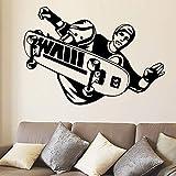 BRILLINT.YY Wandaufkleber Kinderzimmer Sport Skateboardfahrer Stunt Trick Flip Jump Skateboard Sport Kunst Decals Für Tenns Home Dekoration 43X29Cm
