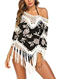 Damen sommer Strandkleid bikini cover up V-ausschnitt Lose Oberteile Cover up hemdkleid weich frauen bade shirt top sexy Gr: 38/M, Farbe: 6577_weiß