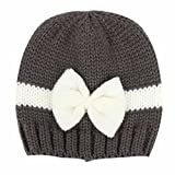 Fulltime® 0-12 mois Bébé Garçons Filles Laine Crochet souple Chapeau Bonnet (Gris foncé)