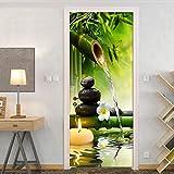 CFLEGEND-Muro de piedra de bambú zen-80X200CM-Etiqueta puerta 3D Impresión arte moderno PVC Alas de calavera dormitorio de la habitación Paisaje de la habitación del niño con decoración de decoración