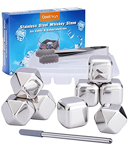Reusable Whisky Stones Rocks - Qoolivin 2017 New 8 Piece Metal Ice Cubes Stainless Steel Whiskey Ice Cubes Novelty Gift for Men for Wine and Drink with Nonslip Rubber End Ice Tongs and Ice Cube