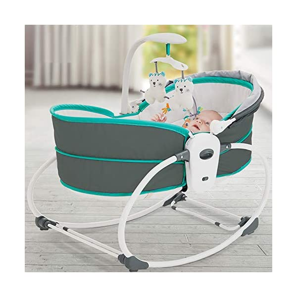 ZXYSHOP Baby Electric Baby Cradle Vibration Crib Bed Rocking Chair Automatic Comfort Chair Shaker Can Sit Chair Lift Basket Cradle,Black  ●Folded flat for easy storage and transportation ●This cot is equipped with a safety belt and non-slip feet for safety. ●Safety system: three-point seat belt, safety protection for baby legs, ankles and abdomen, shield to cover the buckle, baby can not unlock themselves, to avoid accidents. 3