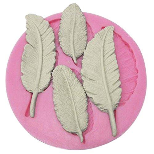 Haodou Molde Hojas Forma Pluma 3D Reverso Molde Azúcar