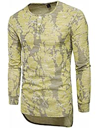 FNKDOR Hommes Slim Fit O Neck T-shirt manches longues manches courtes Blouson décontracté