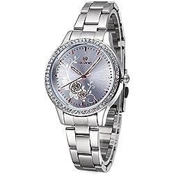 ufengke® luxury casual gold flower dress quartz wristwatch for women girls-silver dial