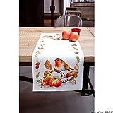 Vervaco PN-0146877 VER Aida Läufer Rotkehlchen mit Äpfeln