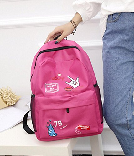 lo zaino , feiXIANG 2017 Donne ragazze preppy lettera stampa spalla Bookbags scuola viaggio zaino borsa (nero) caldo rosa