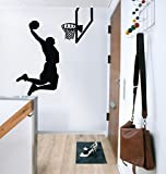 87x100cm Jumping flying basketball player Jordan Kobe NBA stars graffti art slam dunk boy wall decals for child