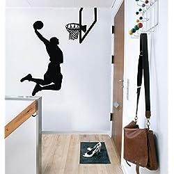 87X 100CM, Jumping volando Baloncesto NBA Kobe Player estrellas Jordan Slam Dunk graffti Art–Adhesivo para pared para habitación de los Niños, para joven, negro, 87 x 100 cm