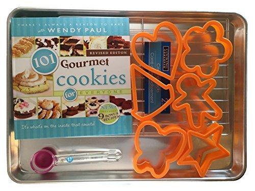 Cookie Cutters 11 Piece Set Half Sheet Pan Cookie Scoop Cooling Rack 101 Gourmet Cookies Hardback by Kays Kozy