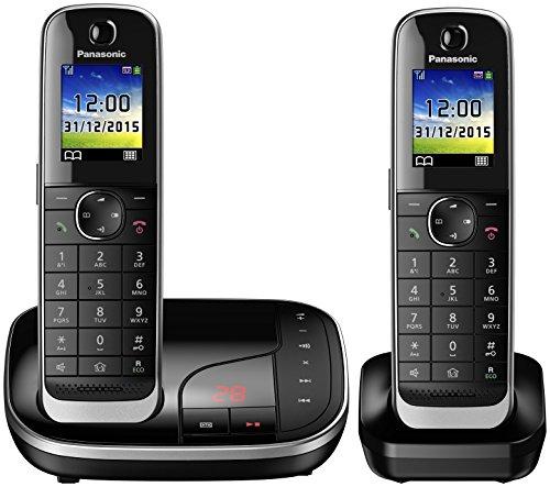 Panasonic KX-TGJ322 - Teléfono (Teléfono DECT, Altavoz, 250 entradas, Identificador de Llamadas, Servicios de Mensajes Cortos (SMS), Negro)