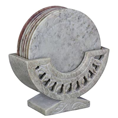 Contemporary Stone Ornament Coasters Holder Set Dining Table Coffee - cheap UK light store.