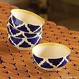 #7: ExclusiveLane 'Four Mediterranean Bowls' Handpainted Serving Bowls In Ceramic (Set Of 4) -Salad Bowl Ceramic Snacks Serving Bowl Decorative For Dining Table Rice Maggi Bowl Set For Kitchen Dinner Bowls