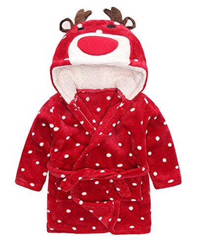 XINNE Unisex Baby Kinder Kapuzen-Bademantel Jungen Mädchen Morgenmantel Tier Schlafanzug Flanell Nachthemd Nachtwäsche Größe 120 Elch (Rot Flanell Robe)