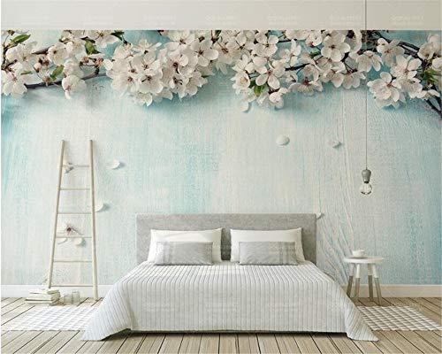 Wolipos 3D Tapete Wandbild Moderne Frische Blaue Hölzerne Korn Kirschblüte-Blumenblattmalerei Wandaufkleber 400cmX300cm - Ozean-blau-korn
