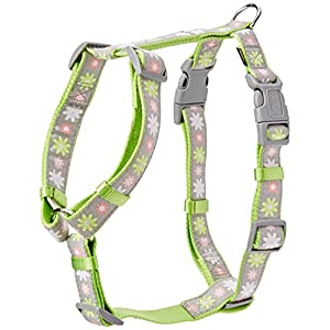 Trixie Modern Art Blooms Print Dog H-Harness, X-Small/Small, Green