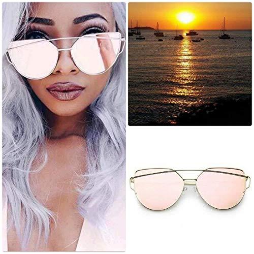 97a3ad198 ROSE GOLD Cat Eye Women Ladies Sunglasses Mirrored Aviator Reflective Retro  UK