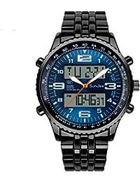 SunJas Reloj Deportivo de Doble Horario Multifunciones de Alarma, Fecha y Calentario, Tiempo Mundial Reloj Electrónico Digital con Luces Impermeable contra Agua de 50m de Nuevo Diseño (Azul)