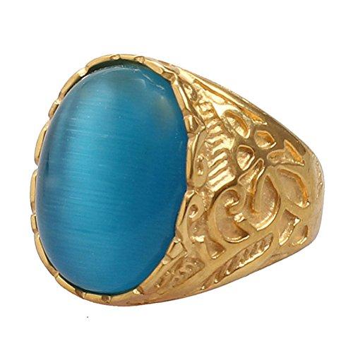 PAURO Unisex Acciaio Inossidabile Placcato Oro Anello Gemma Ovale Con Vintage Intagliato Reticolo Blu Taglia 14