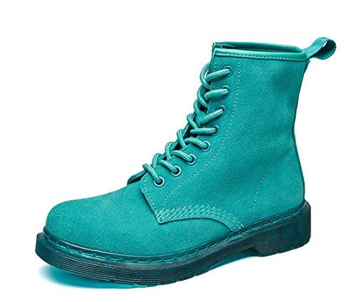 Honeystore Schnür Stiefeletten Worker Boots Profilsohle Schnürschuhe Schlupfstiefel Combat Boots Leder Winter Stiefel Schuhe Grün 35 EU