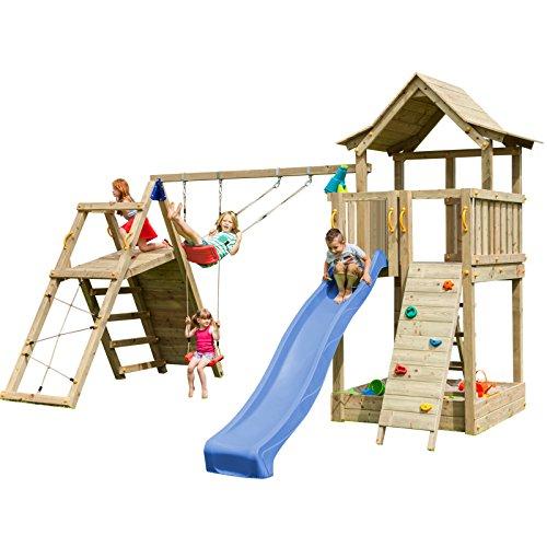 Blue Rabbit 2.0 Spielturm PAGODA mit Rutsche 2,90 m + große und kleine Kletterwand + Doppelschaukel inkl. 2 Schaukelsitze 70 kg belastbar Kletterturm Kiefer MASSIVHOLZ imprägniert (Blau)