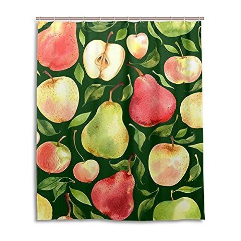 Rideau de douche de bain 152,4x 182,9cm, fruits tropicaux d'été Coloré Apple Poire, à la moisissure Polyester Rideau de salle de bain en tissu