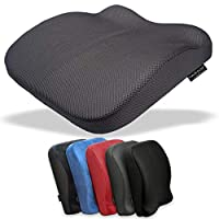 Medipaq® The Memory Foam Contoured Seat & Back Cushion (BLUE VELOUR or BLACK PLUSH Fabric) - Reduce Back Ache, Improve Posture! (UK DELIVERY ONLY)