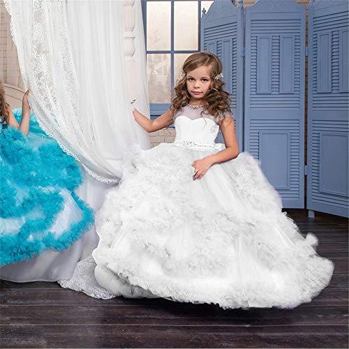 Wanlianer Ballkleid für kleine Mädchen Kinder Prinzessin Kleid Blumenmädchen Hochzeit Abendkleid wischen Langen Rock Mädchen Pettiskirt Kostüm Kleider Kinder (Farbe : Weiß, Größe : 12-13T)