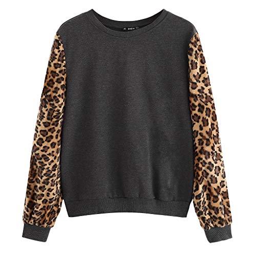 Donna Felpe Tumblr Ragazza a Maniche Lunghe Sweatshirt Pullover Cuciture Leopardate Felpa Sportiva Crop Top Autunno Camicia Maglietta Elegante Maglioni Tops Vovot