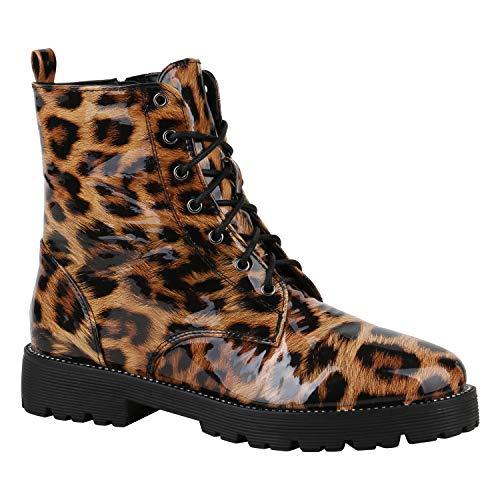 Stiefelparadies Geschnürte Damen Worker Boots Profil Sohle Stiefel Stiefeletten Leopard Strass 39 Flandell (Rabatt Damen Kostüme)