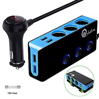 Auto Verteiler Quick Charge 3.0, 12V/24V USB Zigarettenanzünder Adapter Kfz Ladegerät 120W DC Mehrfach 3 Steckdose Splitter mit Voltmeter Schalter 4 USB Anschlüsse für GPS DashCam iPhone iPad Android