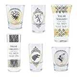 Game of Thrones Bicchieri Set of 6 Black and Gold Premium Set, 1