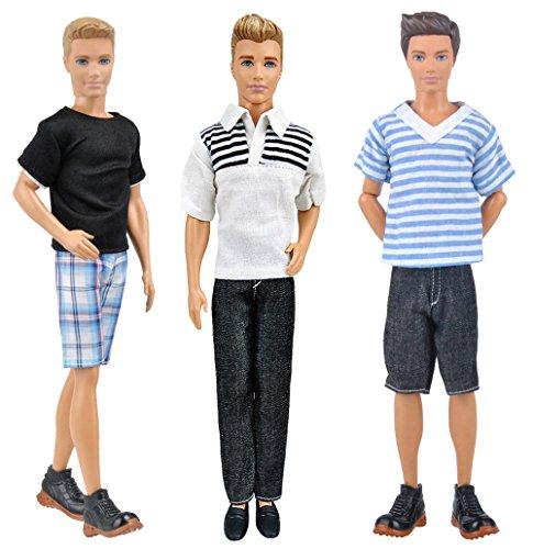3 juegos de muñecas de muñecas de todos los días para Barbie novio ken doll - estilo aleatorio