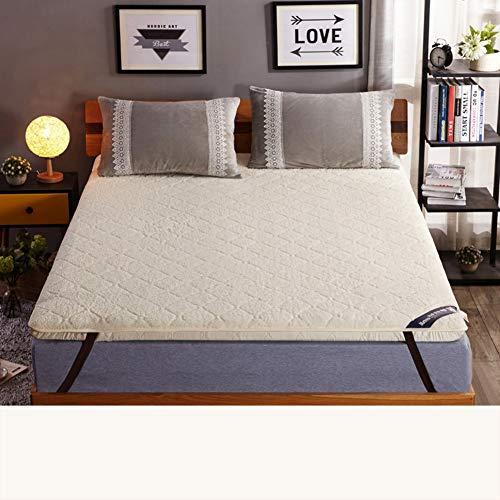 TATAMI Verdickt Matratze Topper Geldklammer, Reversible Boden matratze Mat pad Plüsch Kissen-top-matratze Cover Dicken matratzenauflage -Cremeweiß 180x200cm(71x79inch) - Plüsch-top-matratze