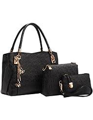 Coofit® 3 EN 1 Bolso de mujer, cross body bag y monedero, hecho de cuero, Bolso mochila para mujer 3 Pcs Set bolsos de mano bolsos fiestabolsos bandolera