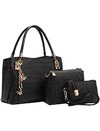 Coofit 3 teiliges Damen Handtaschenset im Vintage Style Leder Henkeltasche Crossbody Tasche Handgelenktasche