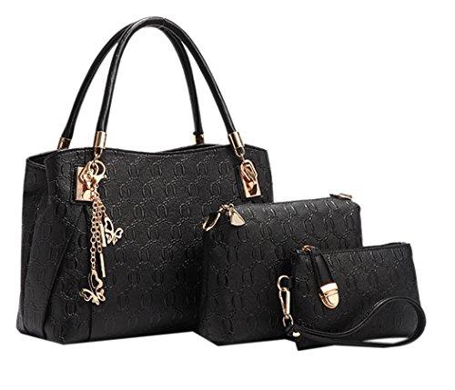 Coofit 3 teiliges Damen Handtaschenset im Vintage Style Leder Henkeltasche Crossbody Tasche Handgelenktasche (Große Schuhe Frauen)