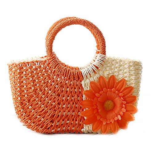 DELEY Damen Lässige Sonnenblume Stroh Gestrickte Strand Beutel Handtasche Meer Urlaub Hobo Bag Orange