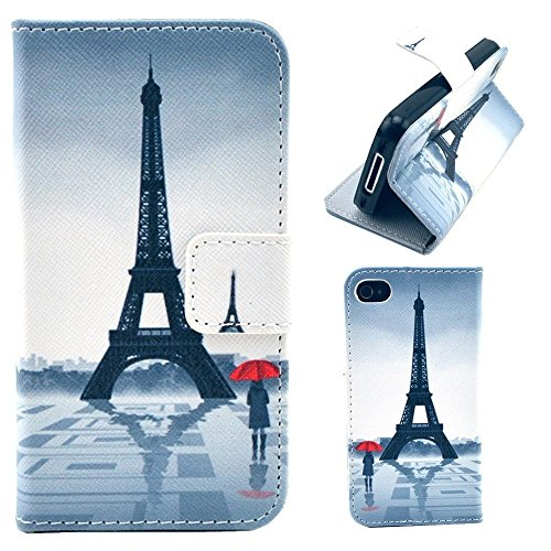 HUANGTAOLI Custodia in Pelle Flip Case Cover per Apple iPhone 4/4S Pellicola Protettiva Schermo & Stylus (LOVE) C105