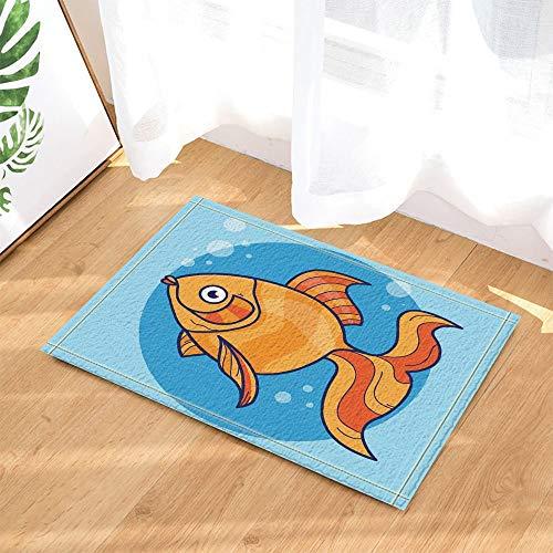 (cdhbh Fisch Decor A Big Fische Schwimmen in Wasser Bad Teppiche für Bad Rutschfest Boden Eingänge Outdoor Innen vorne Fußmatte Kinder Badteppich 39,9x 59,9cm gelb)