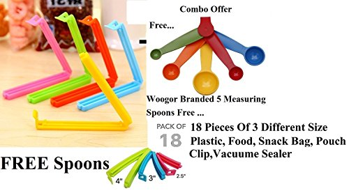 Woogor 18Pc Seal Clips 3 Different Size Plastic Food Snack Bag Pouch Clip Sealer for Keeping Food Fresh for Home Kitchen Camping (Multi Color) Made in India.