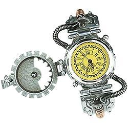 NON MagiDeal Reloj Gótico de Cuarzo del Engranaje Steampunk con Números Romanos, 4 Colores Seleccionables - Amarillo 1