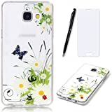 Lotuslnn Samsung Galaxy A3 2016 Coque,Samsung Galaxy A3 2016 /SM-A310 TPU Silikon Etui Transparent Housse Cases and Covers (Coque+ Stylus Pen + Tempered Glass Protective Film)- Flower