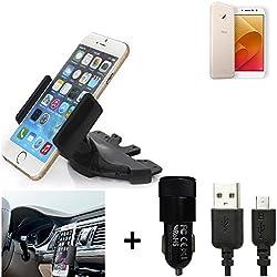 K-S-Trade TOP SET per Asus ZenFone 4 Selfie Pro + Caricabatteria Supporto Slot CD Smartphone per auto dispositivi di navigazione montaggio autoradio titolare staffa per Asus ZenFone 4 Selfie Pro fatto per smartphone, cellulare, navigazione / GPS
