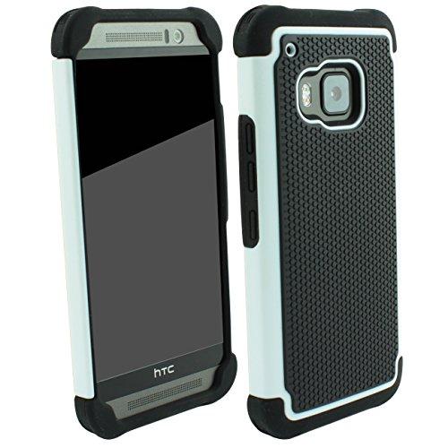 Outdoorschutzhülle für HTC ONE M9 Case inkl. Pnzerglas 9H transparent Outdoor Weiß Weiss Cover Hybrid Schutz Hülle Sturz Bumper Folie Schwarz Black White