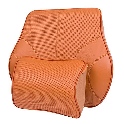WYUKUAN Auto Lordosenstütze Autositz Memory Foam Lendenwirbelstütze Leder Vier Jahreszeiten Wasserdicht Müdigkeit Lindern Treiber, 4 Farben (Color : Orange, Size : 25X11X18CM) (Kopfstütze Treiber)