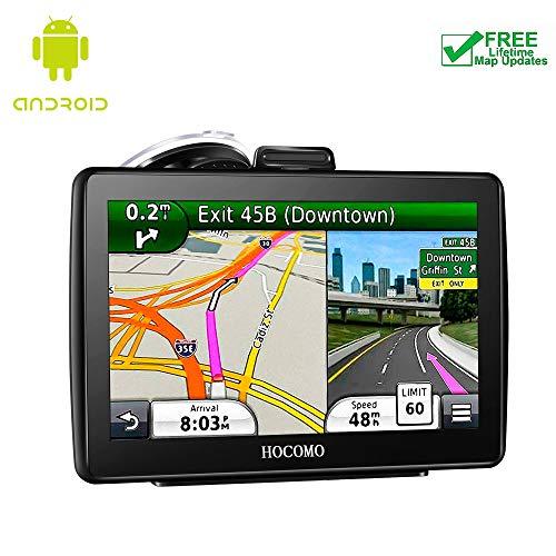 HOCOMO - Navigatore satellitare per auto, 5 pollici, sistema di navigazione GPS integrato, Wi-Fi con aggiornamenti a vita gratuiti, Regno Unito e Europa